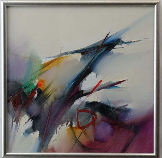 """XX-XXI Acrylic on canvas Abstract Unsigned 24"""" square"""