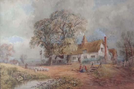 J.B.Davis 1865 Watercolour Droving sheep past The Inn S