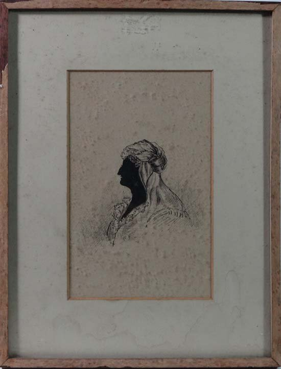 19thC pen ink silhouette  Profile of a woman  with prov