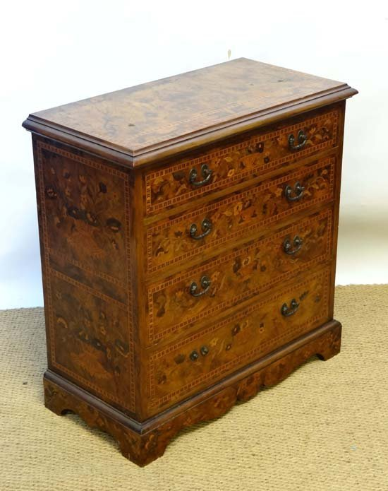 A fine 19thC marquetry inlaid walnut chest of four grad