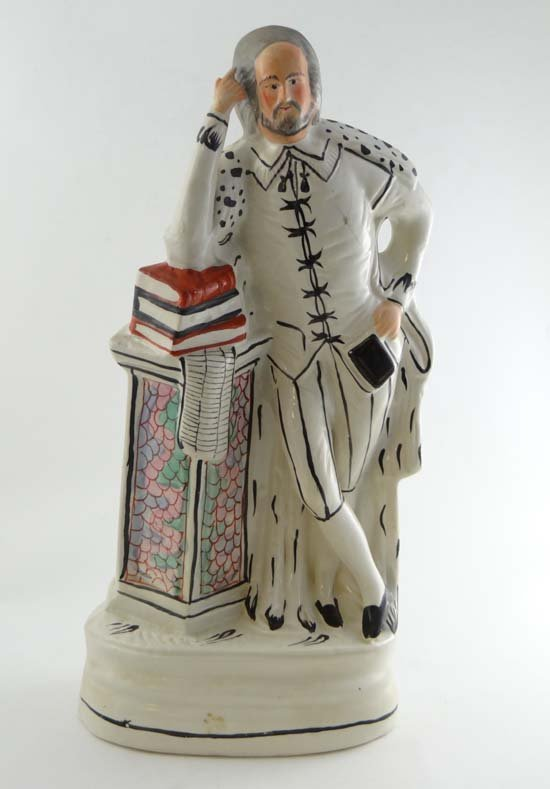 A tall Victorian Staffordshire pottery figure by Sampso