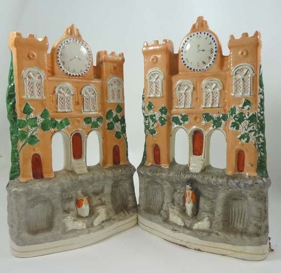A pair of Victorian Staffordshire twin turreted castles