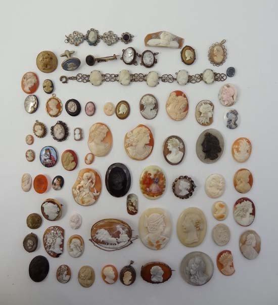 A large quantity of assorted cameos including shell car