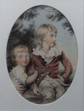 Follower of Joshua Reynolds (XIX) Watercolour - an oval
