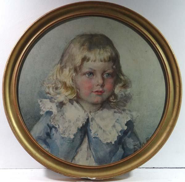 Miss E M Barnard 1906 Watercolour tondo Portrait of ' W