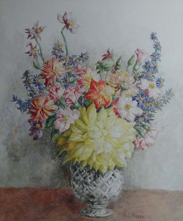 Noel Laura Nisbet (1887-1956) Watercolour ' Flower Piec
