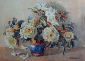 G Thomasett (early XX) Watercolour Still life of white