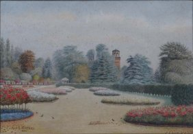 Alf S. Watson 1926 Watercolour ' Rose Garden, Kew ' Sig