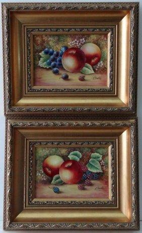 James Skerrett (XX) Pair of gilt framed oils on bone ch
