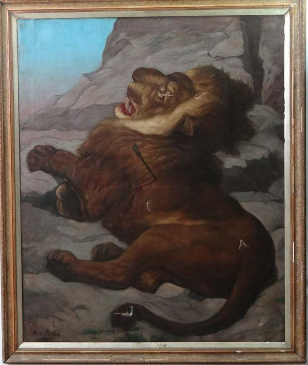 A. von Tinkas 1891 Oil on canvas The lion of Lucerne (A