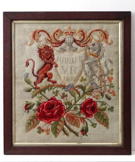 A Victorian woolwork commemorating the 60 year jubilees