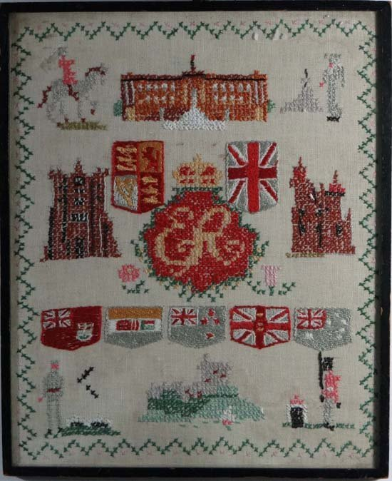 Sampler : A QE II Commonwealth hand stitched needlework