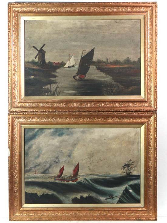 M. J. Capps 1891 Pair of oil on canvas Ships in a heavy