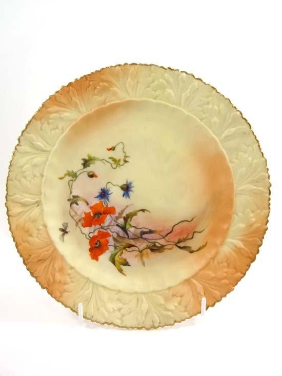 A late 19thC blush porcelain plate by Locke & Co, Shrub