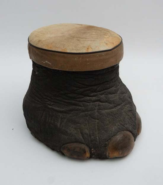 Taxidermy :  A Victorian elephants foot stool with upho