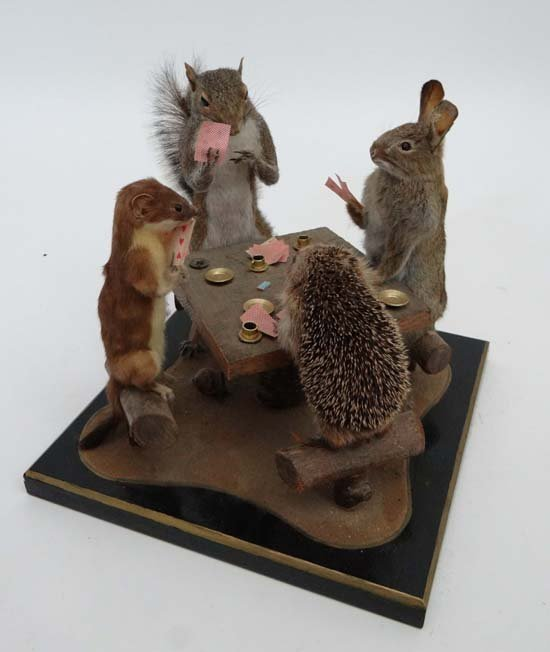 Taxidermy : A charming novelty figure group of woodland