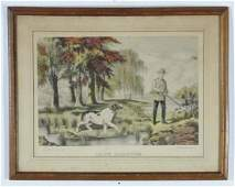C 1900 American  Hand coloured lithograph  Snipe Shoo