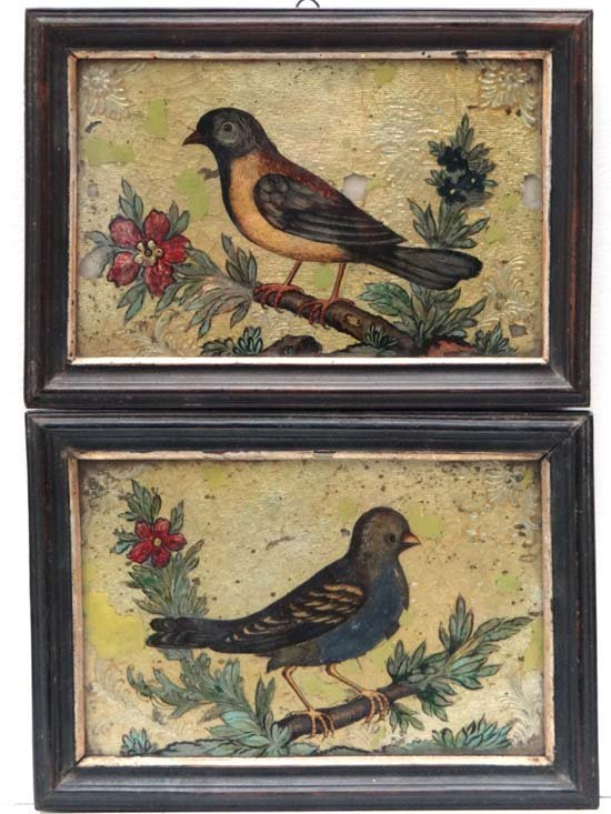 C. 1800 reverse glass A pair of Reverse glass paint and