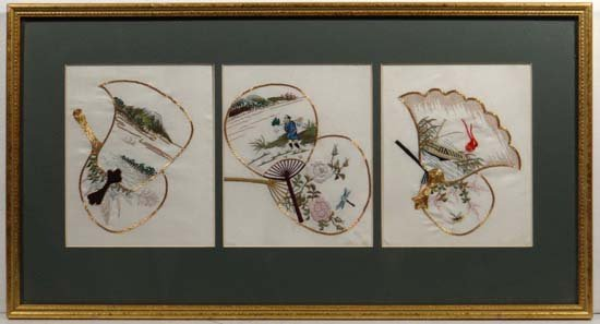 Japanese silkwork (XX) Triptych mounted gold and silk t