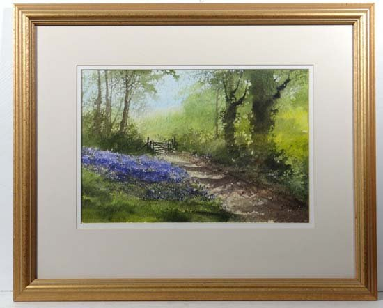 T Moore XX Watercolour Bluebells besides woodland track