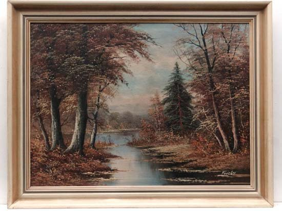 Finuke c.1970 Oil on canvas Stream in the woods Signed