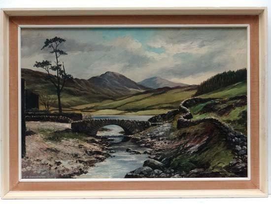 T. R. Sanderson mid (XX) Oil on canvas ' Bridge at Wate