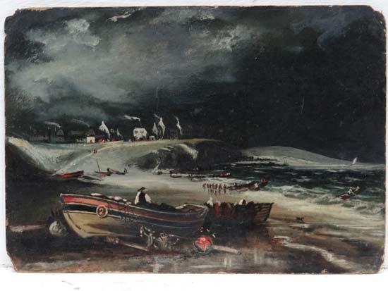 AA Glendenining (XIX-XX) Oil on artist board Fishing bo
