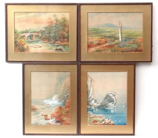 MSH (early XX) Four watercolours 2x coastal scenes and