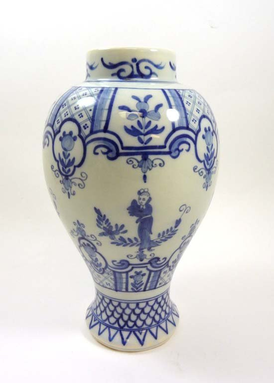 A blue and white tin glazed vase of baluster shape, pai