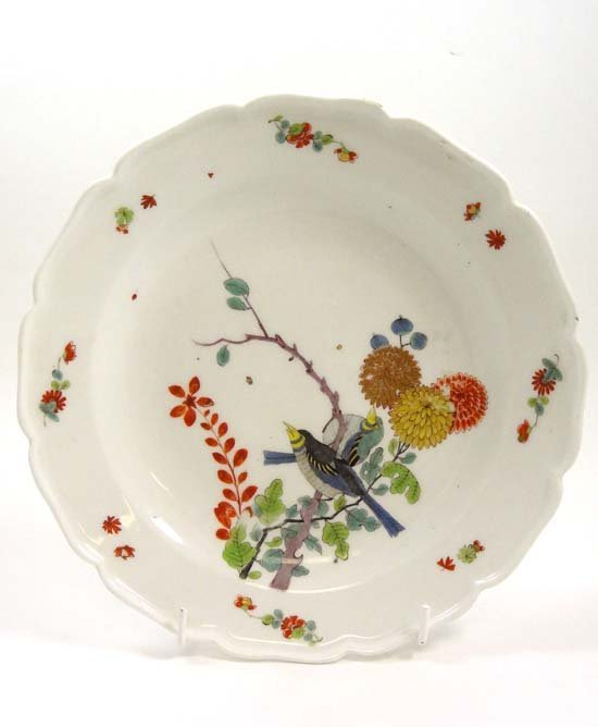 An 18thC Meissen porcelain shaped shallow bowl painted