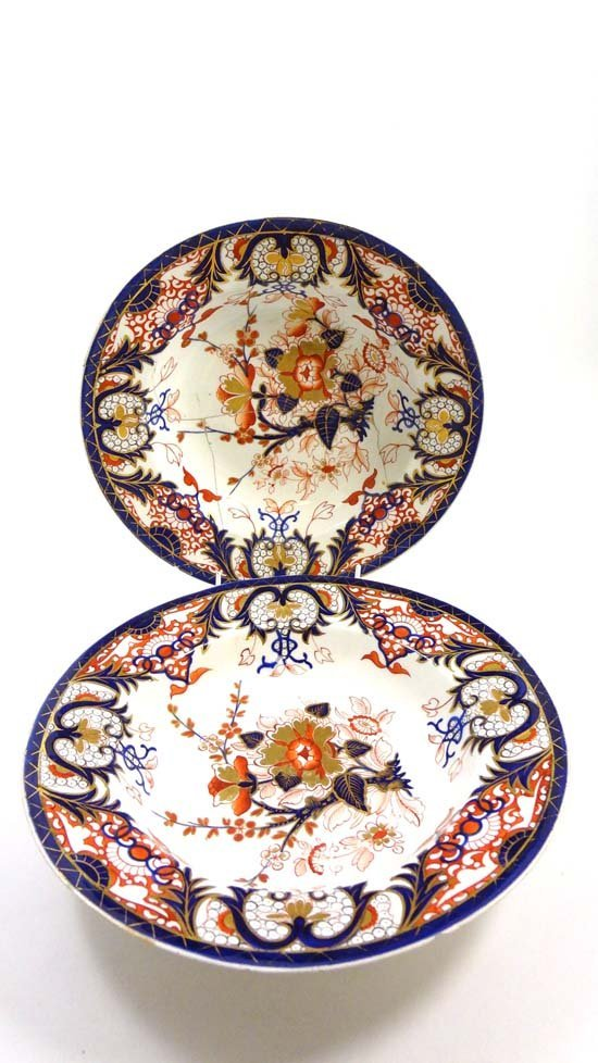 A pair of late 18thC Chelsea Derby plates, decorated in