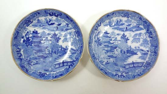 A pair of early 19thC blue and white transfer printed s