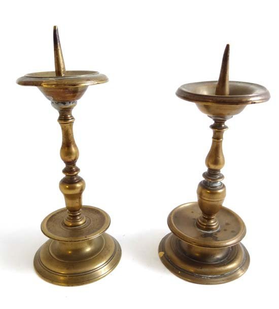 2 Continental early cast brass near matching pricket st