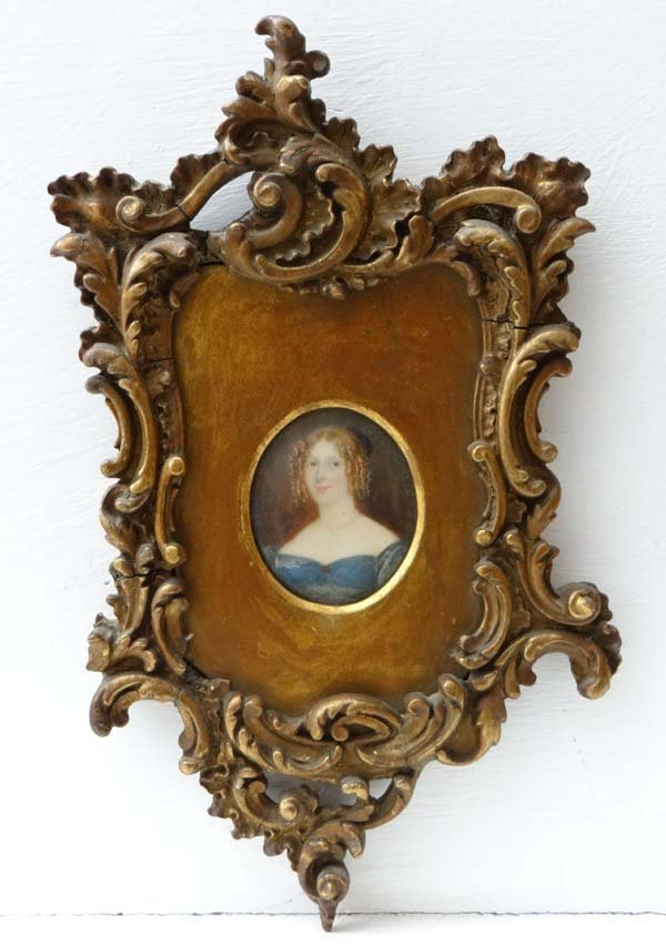 XIX Miniature on ivory An oval ' Mary, wife of William