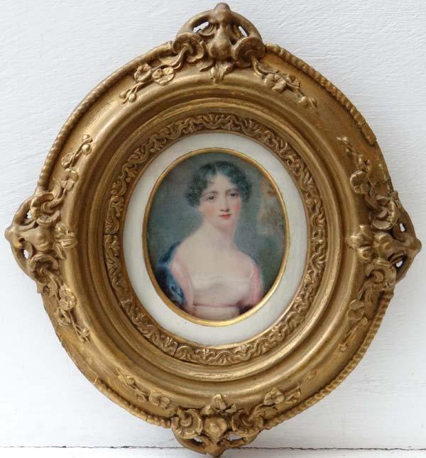 XIX Miniature on Ivory An Oval Portrait of a dark haire