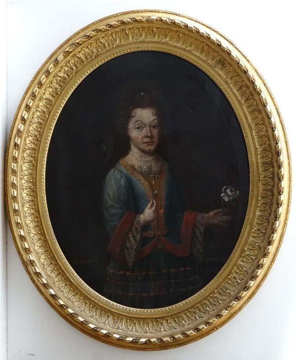 XVIII English Portrait School Oil on canvas, a large ov
