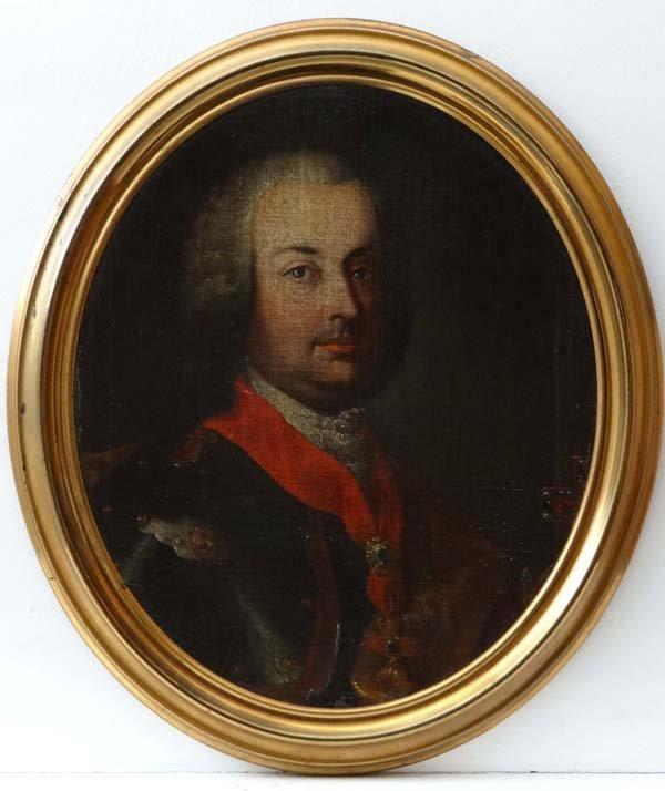 XVIII Continental School Oil on canvas, an Oval Portrai