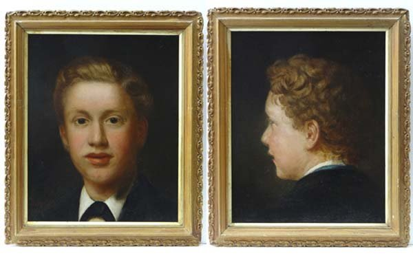 Henry Grant (?- c.1893) Matched pair portraits dated 18