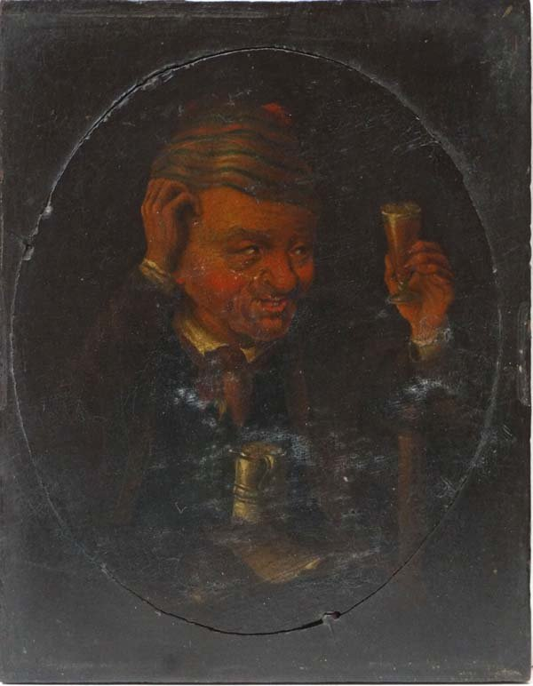 H Gaunter 1828 Oil on panel, a small Oval Portrait of a