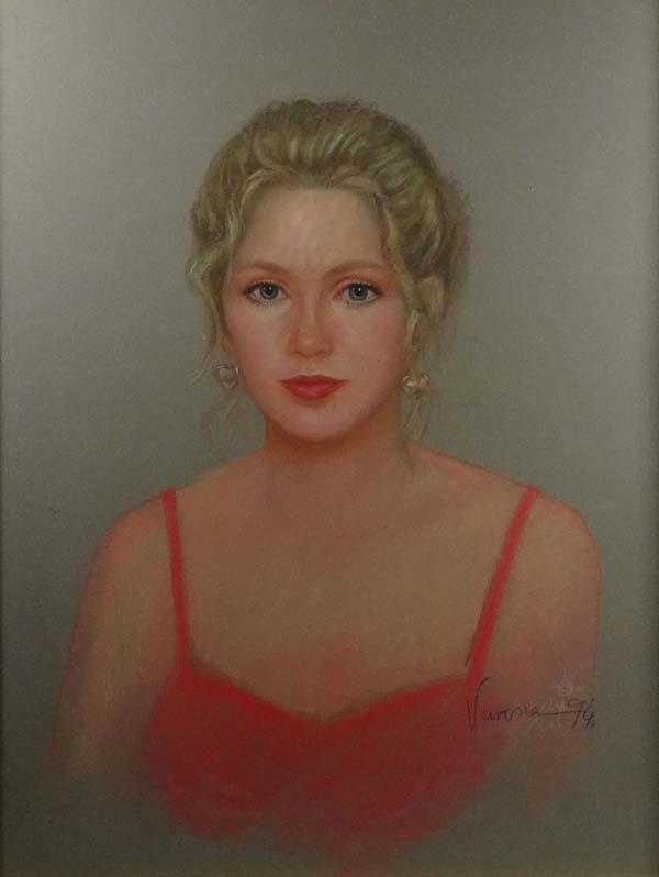 Varona 'XX Pastel on paper Portrait of a blonde woman S