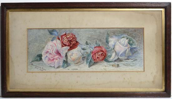 "A G Wall 1893 Watercolour "" Worcestershire Roses June 1"