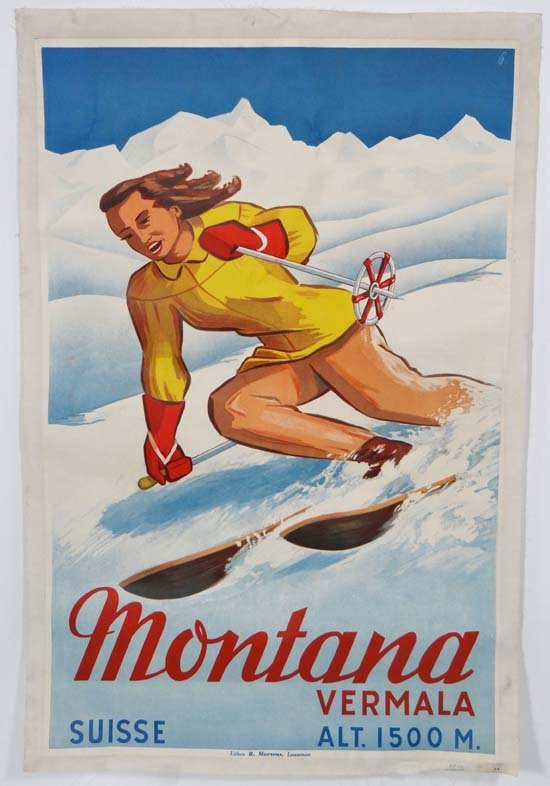 A 1947 travel advertising ski poster for Montana, litho