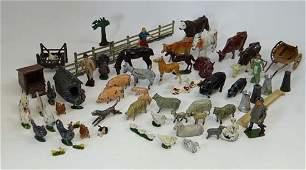 A quantity of painted lead farmyard figures, some marke