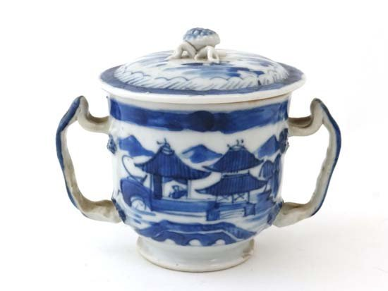 A Chinese 19thC blue and white lidded 2- handled shavin