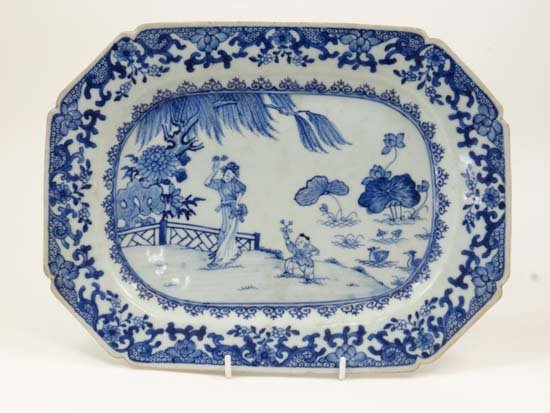A 19thC Chinese blue and white plate depicting figures