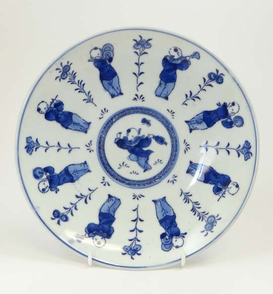 A mid 19thC Chinese hand painted blue and white plate d