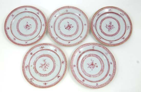 "5 19thC Chinese puce hand painted plates 6 1/4"" diamete"