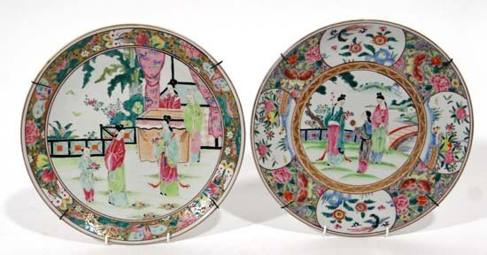 A pair of Japanese signed chargers with polychrome enam