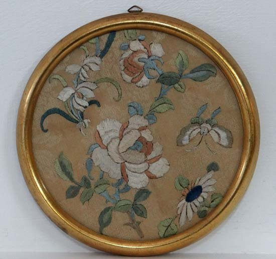 A circa 1900  Oriental silkwork A Tondo Butterfly and