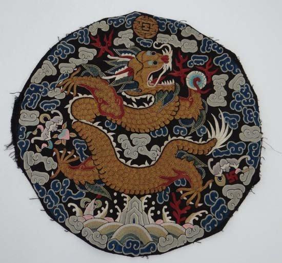 19th Chinese Silkwork A tondo, A four toe writhen